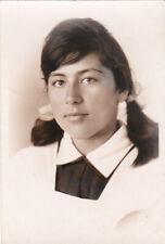 1965 Pretty young teen girl school uniform long hair beauty old Russian photo