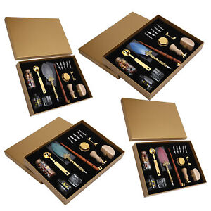 Vintage Feather Pen Wax Set Quill Dip Pen Stamp Kit Fountain Pens Gift Box Set