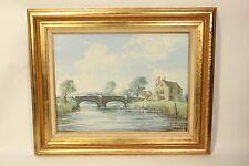 Douglas Ettridge Oil on Canvas Art Painting Manor House Bridge Sussex Signed