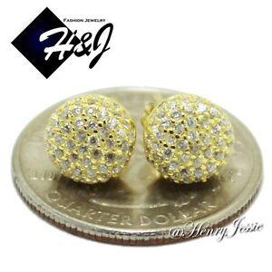 MEN WOMEN 925 STERLING SILVER ROUND 8MM ICY DIAMOND GOLD BLING STUD EARRING*EG30