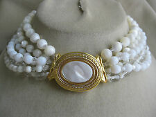 BARRERA 6 Strand Goldtone Mother of Pearl Clear White  Bead Choker Necklace