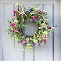 Large Pink and Blue Meadow Flowers Wreath 45cm Easter Spring Summer Collection