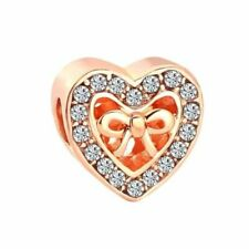 Rose Gold Bound by Love CZ Bow Knot Heart Charm  for Charm Bracelets+ gift box