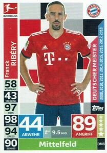 Topps Match Attax 18/19 Bundesliga Carte Numéro DM8 Allemande Meister Ribery