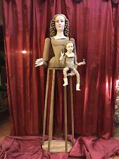 Madonna Manichino Gabbia Stile '600 Vintage Wood Statua Santa 160 cm occhi vetro
