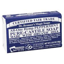 10 X 140g Dr Bronners Magic Soaps Pure Castile Bar Soap - Hemp Peppermint