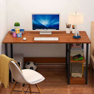 Home Office Computer PC Desk Writing Table 100cm Workstation Wood Bookshelf