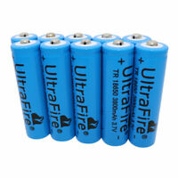 10Pcs 18*65mm Batterie 3800mAh 3.7V Li-ion Rechargeable Battery Flashlight Lamp