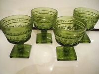 4 VINTAGE INDIANA GLASS PARK LANE 6 OUNCE FOOTED ICECREAM SHERBET 4 1/4'' GREEN