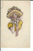 AY-046 - Pretty Woman in Hat, Artist Signed Jack 1907-1915 Golden age Postcard