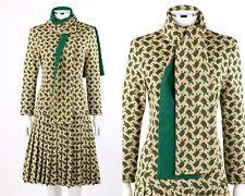 Vtg SUZY PERETTE c.1960s 2pc Sand Yellow Turtle Print Knit Sweater Dress + Scarf