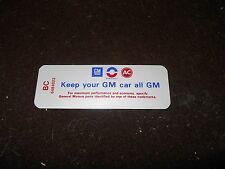 1968 BUICK GS350 GS400 GS 350 400 AIR CLEANER BASE KEEP YOUR GM ALL GM DECAL NEW