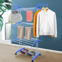 In/Outdoor Laundry Clothes Towel Drying Rack Portable Folding Dryer Hanger Blue
