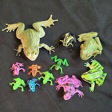 Vintage Frogs painted plastic lot of 11 amazon tree frogs