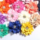 """10PCs 7.5CM 2.95"""" Lotus Hair Flowers With Rhinestone For Accessories Bouquet"""