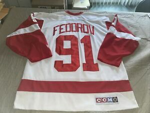 Adult Large CCM Sergei Fedorov Detroit Red Wings NHL Hockey Jersey Solid  White