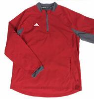 Men's Adidas 1/4 Zip Pullover Windbreaker Jacket Large Red Zip Off Sleeves EUC