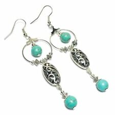 Butterfly Silver Plated Howlite Handcrafted Earrings