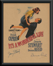 Its A Wonderful Life Movie Poster & Autographs Reprint On 70 Year Old Paper P173