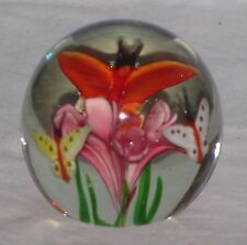 Gorgeous Designs Paperweight 3 Butterflies Above Pink Flowers