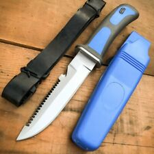 Scuba Diver Knife Fixed Blade Sheath Dive Leg + Arm Straps Stainless Steel Blue