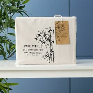 Park Avenue 500tc Natural Bamboo Cotton Fitted Sheet Set White Single Bed Size