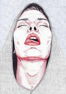 original drawing A3 9FD art samovar Ink sketch modern female portrait Signed
