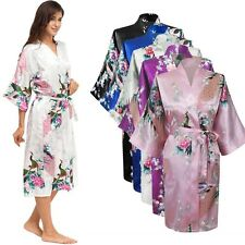 Peacock Satin Robe Kimono Womens Dressing Gown Vintage Wedding Bridal Bridesmaid