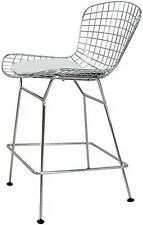 OCC set of 2-Harry Bertoia Chromed Steel Wire Frame Counter Height Stool with...