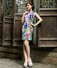 Traditional Asian Clothing  Chinese Cheongsam Cheong-Sam Qipao Dress purple