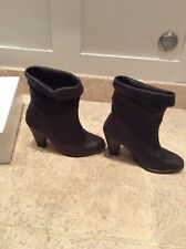 HUMANOID DARK GREY SMOOTH LEATHER CHUNKY HIGH HEEL ANKLE BOOTS 38/5