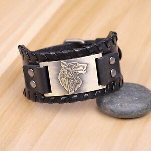 Vintage Norse Fenrir Viking Wolf Head Scandinavian Amulet Metal Leather Bracelet
