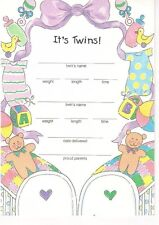 """It's Twins! 5""""x 7"""" Fill in the Blank Birth Announcements, 10 Cards/10 Envelopes"""