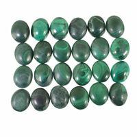 24 Pcs Natural Malachite AAA Finest Green 12mm/10mm Cabochon Gemstones Lot