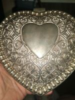 Vintage Silver Plated Small Heart Shaped Trinket Box W/ red velvet lining