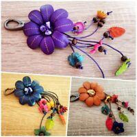 Flower Keychain Leather Genuine Craft Keyring Floral Hook Handbag Bag Purse Gift