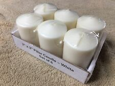 "New 6 Pillar Candles Light Unscented Dome Home Decor White 2""x3"""