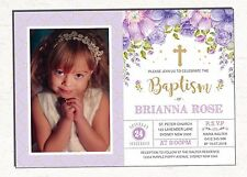 Baptism Invitation Purple Gold Floral Christening Photo Invite Glitter Flowers