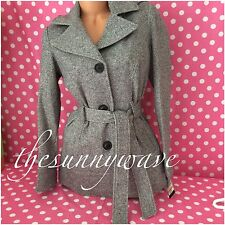 Jones New York Fleece Belted Button Down Trench Peacoat Notch Collar Coat Small