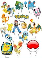 24  POKEMON STAND UP Edible Cupcake Fairy Cake Topper Edible Decorations 2-2.3""