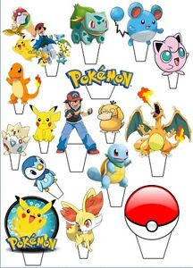 """24  POKEMON STAND UP Edible Cupcake Fairy Cake Topper Edible Decorations 2-2.3"""""""