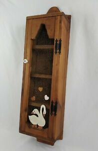 Vintage Wooden Storage Cabinet Wall Mount Chicken Wire Door Rustic Country Geese