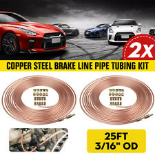 "2x Roll Copper Steel 25 ft 3/16"" Brake Line Pipe Tubing Kit with 20 Pcs"