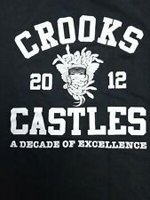 Crooks And Castles 10th Anniversary 2012 Mens Black T Shirt Medusa Distressed L