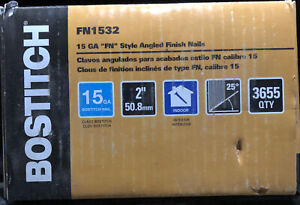"""BOSTITCH FN1532 15 GAUGE 2-INCH ANGLED FINISH NAILS (3655 PACK) """"FN"""" STYLE NEW!!"""