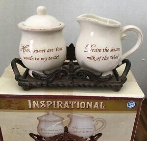 Cracker Barrel Farmhouse Inspirational Ceramic Sugar Creamer Set W/Metal Stand