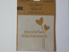 Schablone Stencil, Herzlichen Glückwunsch, Liebe, Love, Herzen, Vaessen Creative