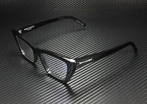 SAINT LAURENT YSL 291 001 Oval Black Shiny Blk Demo Lens 51mm Women's Eyeglasses