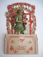 Vintage Project Victorian Era Pull Down Valentine Card w/ Girl Carrying A Plant*