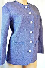 CHANEL Classic Tweed Purple/Blue Runway Trench Jacket Size 42